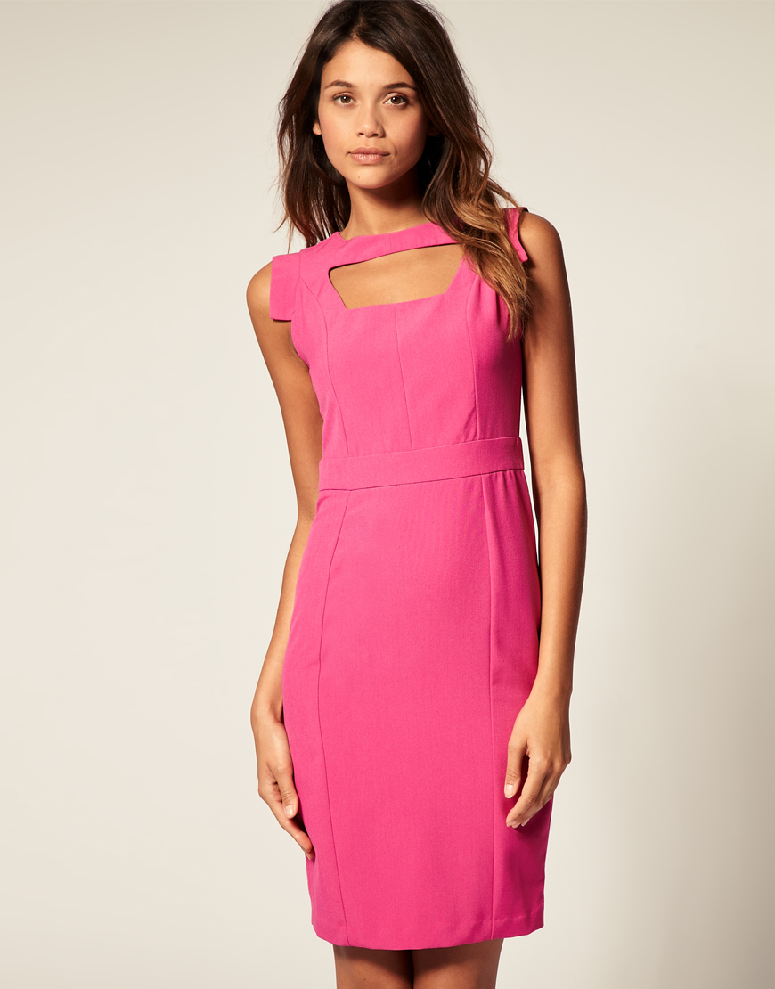 asos tailored pencil dress with cut out detail Modni trend: Fantastična pink