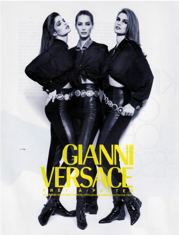 stephanie seymour  christy turlington  amp  cindy crawford for versace Christy Turlington