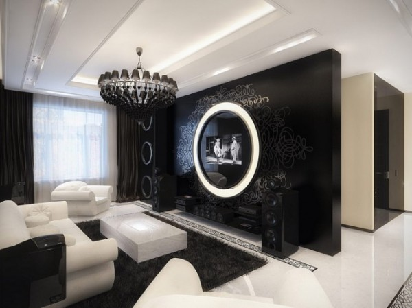 black and white living room 665x498 Luxury Vintage Apartment