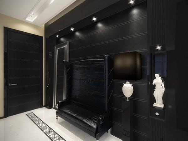 black hall with white touches1 665x498 Luxury Vintage Apartment