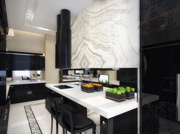 white and black kitchen1 665x498 Luxury Vintage Apartment