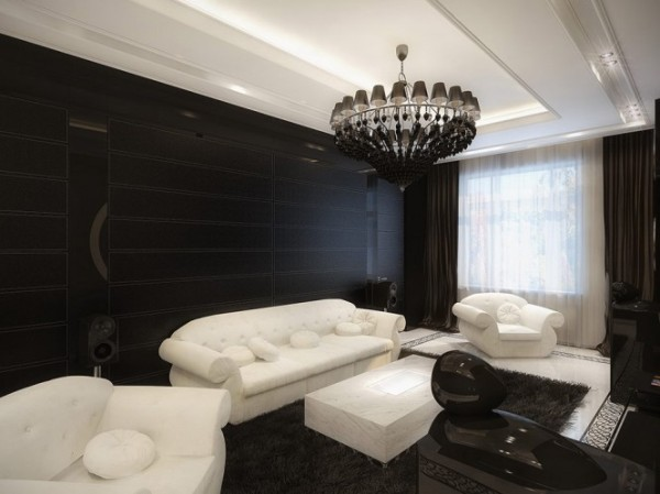 white and black living room1 665x498 Luxury Vintage Apartment
