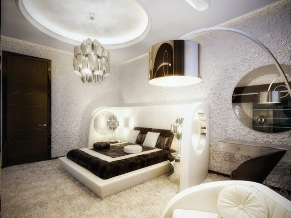 white and brown luxury bedroom1 665x498 Luxury Vintage Apartment