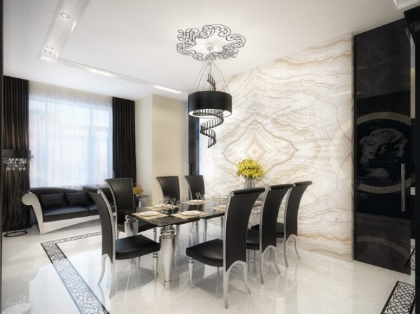 white marble dining room with black furniture1 665x498 Luxury Vintage Apartment