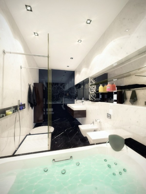 white marble jacuzzi1 665x883 Luxury Vintage Apartment