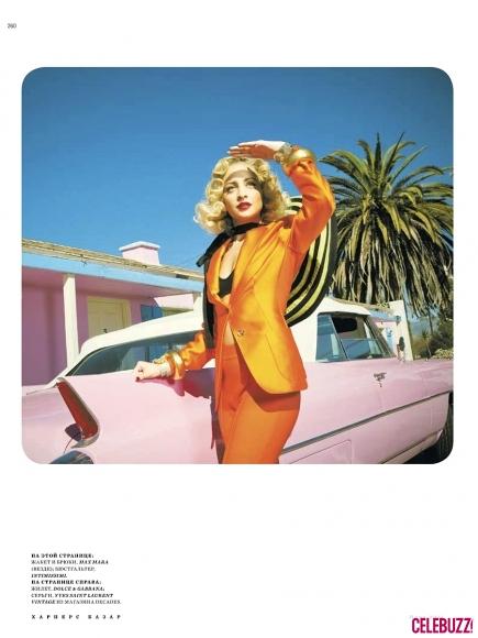 nicole richie harper bazaar orange suit 435x580 Nicole Richie za ruski Harper's Bazaar