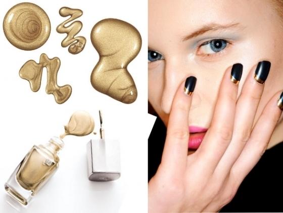 gold nail polish thumb Drugačiji francuski manikir