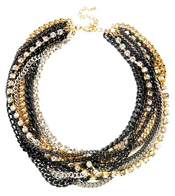statement multi crystal chain necklace From Neck to Toe