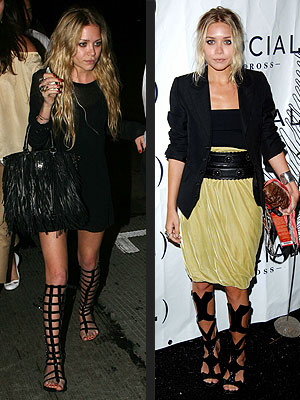 gladiato sandals Boho chic: Mary Kate and Ashley Olsen
