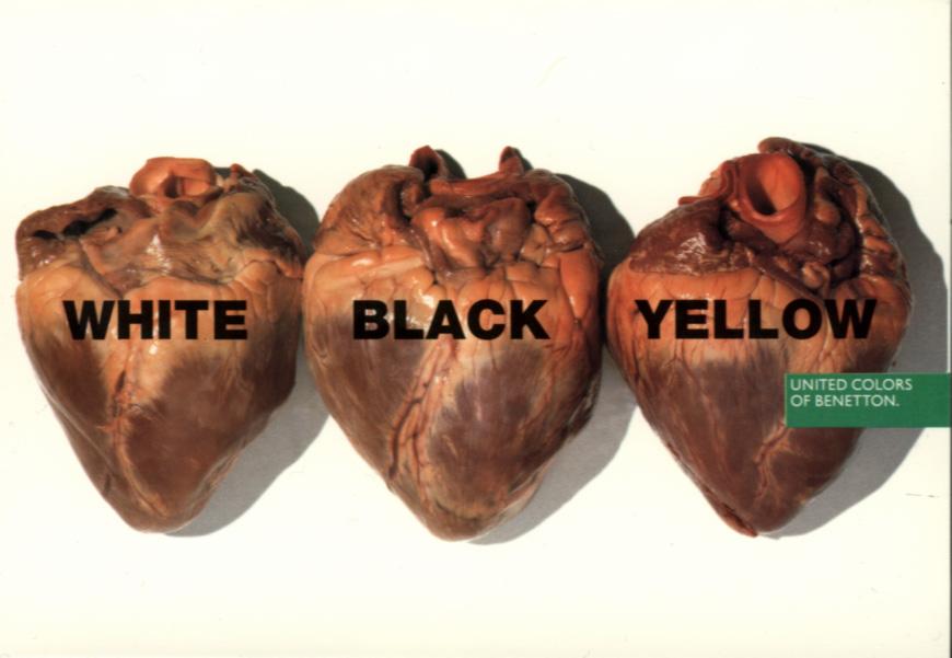 benetton white black yellow heart Zabranjene reklame