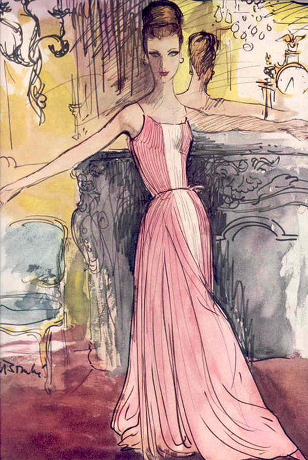 GRES Fashion from Vogue by BOUCHE   1959 18192824 Modna vintage ilustracija