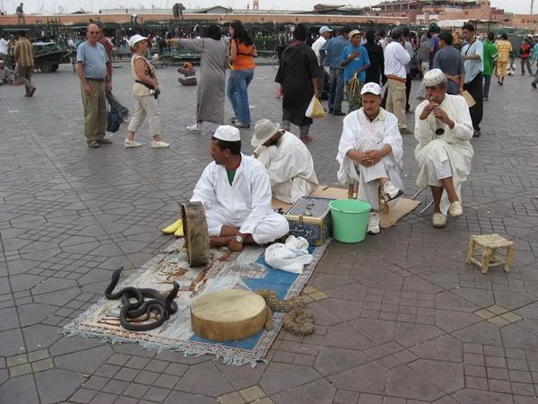 Snake Charmers Djemma el Fna Marrakech Marakeš po ukusu Carrie Bradshaw