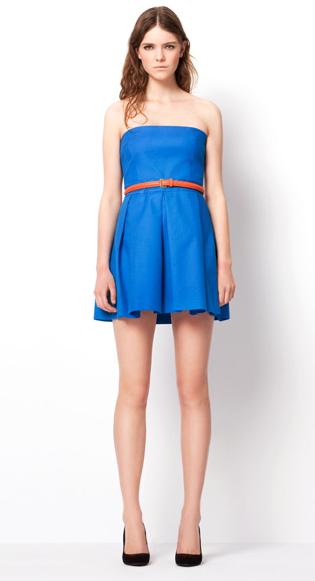 Zara TRF March lookbook blue pleated dress HuggyMonster Zara Color Dresses proleće/leto 2011.