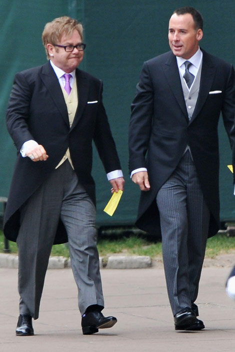 Elton John and David Furnish Royal Wedding Fashion