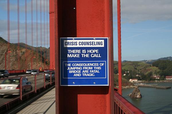 800px Suicidemessageggb01252006 Najlepši mostovi sveta: The Golden Gate Bridge