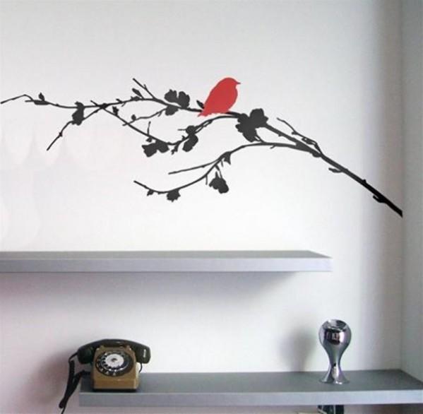Contemporary Home Interior Decoration Gift Ideas Nature Wall Sticker by Zazous Bird on a Branch 590x577 Savremeni detalji za dom