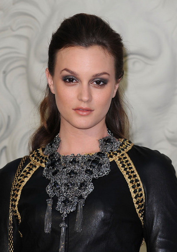 Leighton Meester Silver Statement Necklace From Neck to Toe