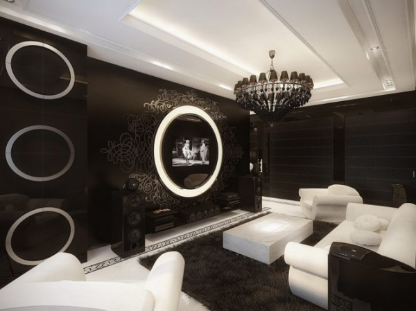 black and white living room 21 665x498 Luxury Vintage Apartment