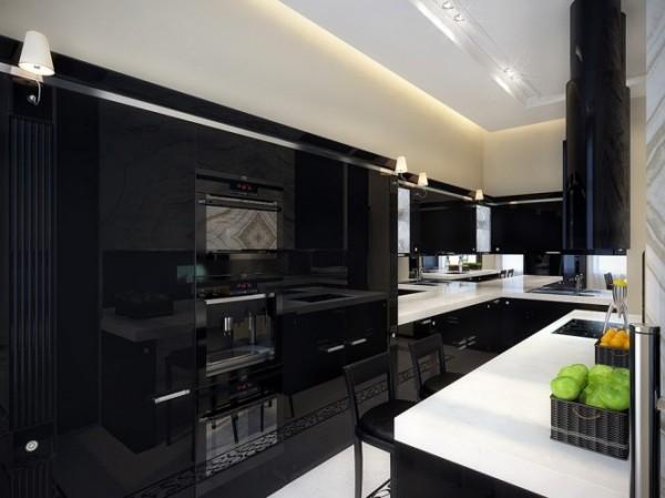 black kitchen with white countertop1 665x498 Luxury Vintage Apartment