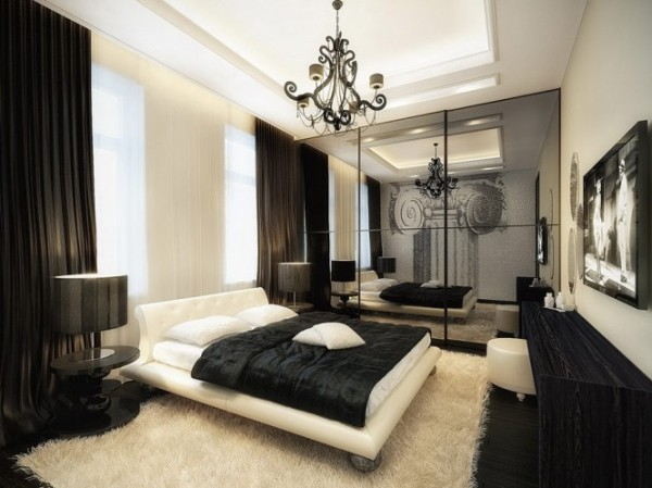 luxurious black and white bedroom1 665x498 Luxury Vintage Apartment