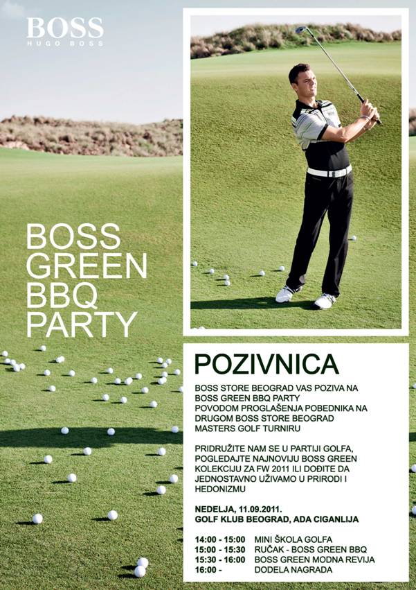 Pozivnica BOSS Green BBQ Party Hugo Boss golf turnir