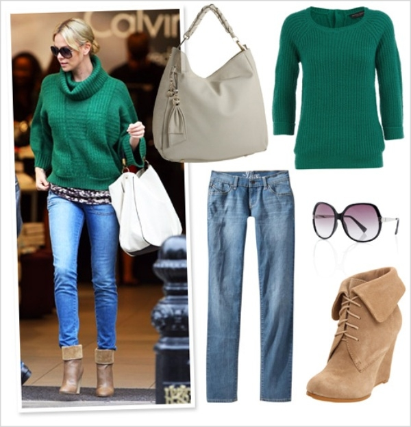 charlize theron stella mccartney green sweater look 4 less Moda Holivuda: Trend izveštaj