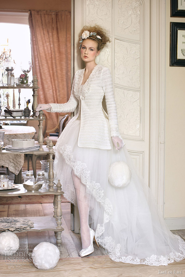 long sleeve wedding dress Emé di Emé, jesen 2011: vintidž stil