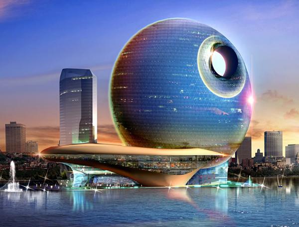FullMoon neodoljivo podseća na Death Star iz Ratova zvezda Hoteli u Azerbejdžanu inspirisani mesecom
