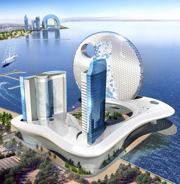 Struktura saća je bila inspiracija za prednji deo hotela Hoteli u Azerbejdžanu inspirisani mesecom