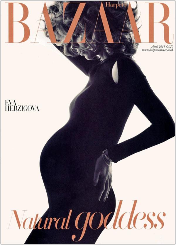 A Very Pregnant Eva Herzigova Covers Harpers Bazaar UK April 2011 Godina kroz naslovnice: Harpers Bazaar