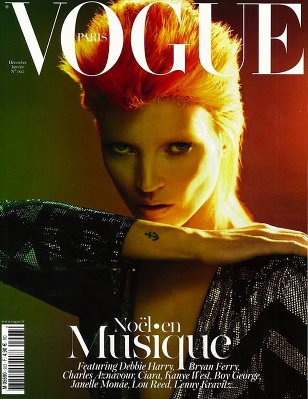 Decembar 2011 naslovnica magazina Vogue Kejt Mos kao Dejvid Bouvi Stil moćnih ljudi: David Bowie, više od ljudskog bića