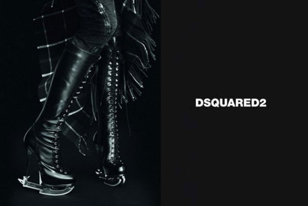 Moderne klizaljke Dsquared2: Crno i koža