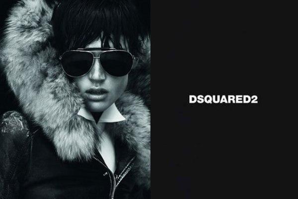 Naočari i krzno su obavezni aksesoari zimi Dsquared2: Crno i koža