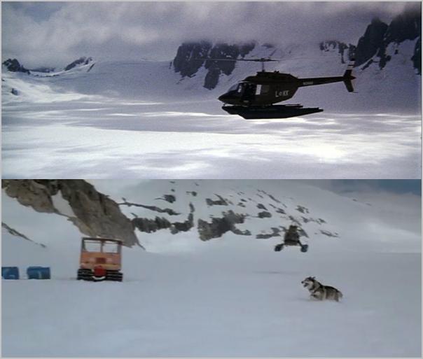 1. Scena koja povezuje dva filma potera helikopterom The Thing