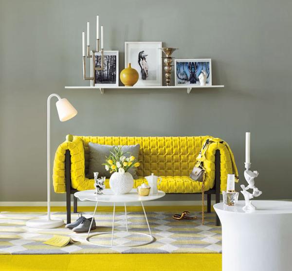 17 Yellow grey living room Boje u enterijeru: Žuta