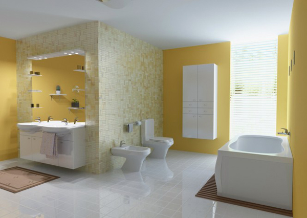 31 Yellow Bathroom 665x472 Boje u enterijeru: Žuta