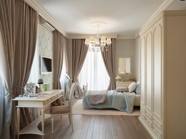 Blue Taupe Brown Traditional Bedroom 665x497 Pastelni apartman