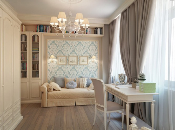 Blue wallpaper Taupe Brown curtains bedroom 665x494 Pastelni apartman