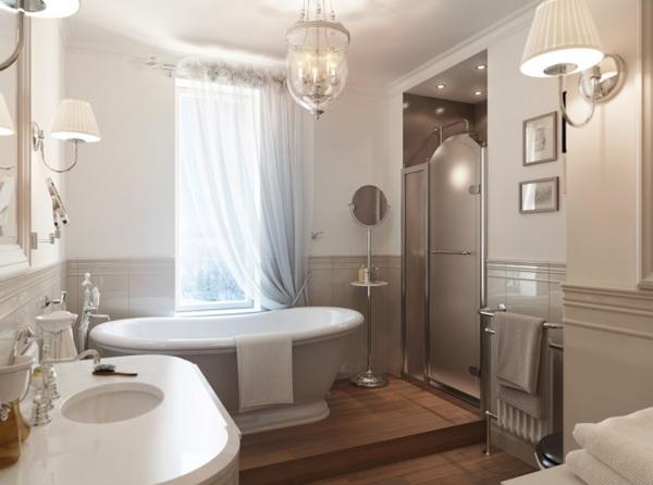 Gray white traditional bathroom 665x494 Pastelni apartman