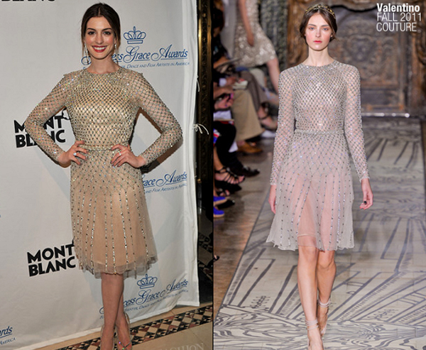 anne hathaway in valentino princess grace awards gala One nose: Valentino