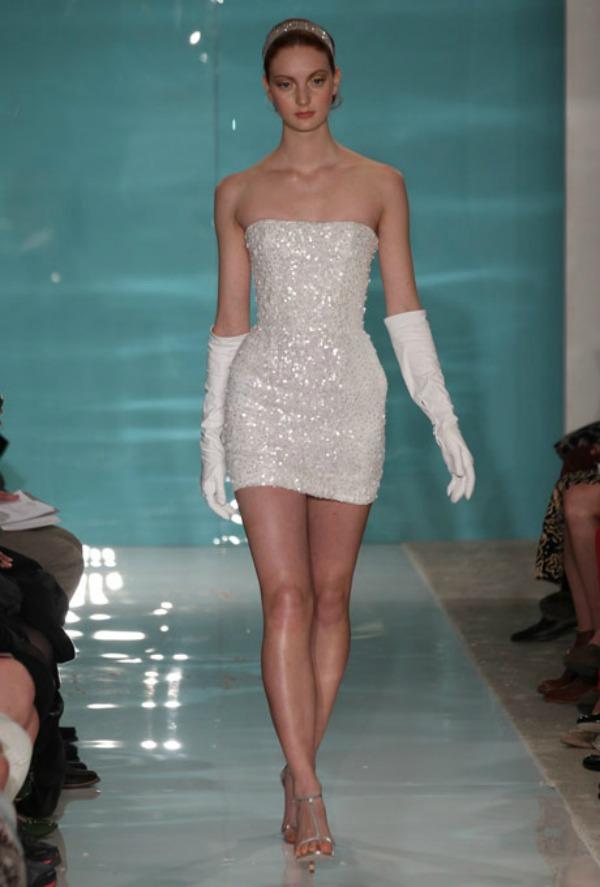 Reem Acra Short Wedding Dress Nedelja venčanja u Njujorku