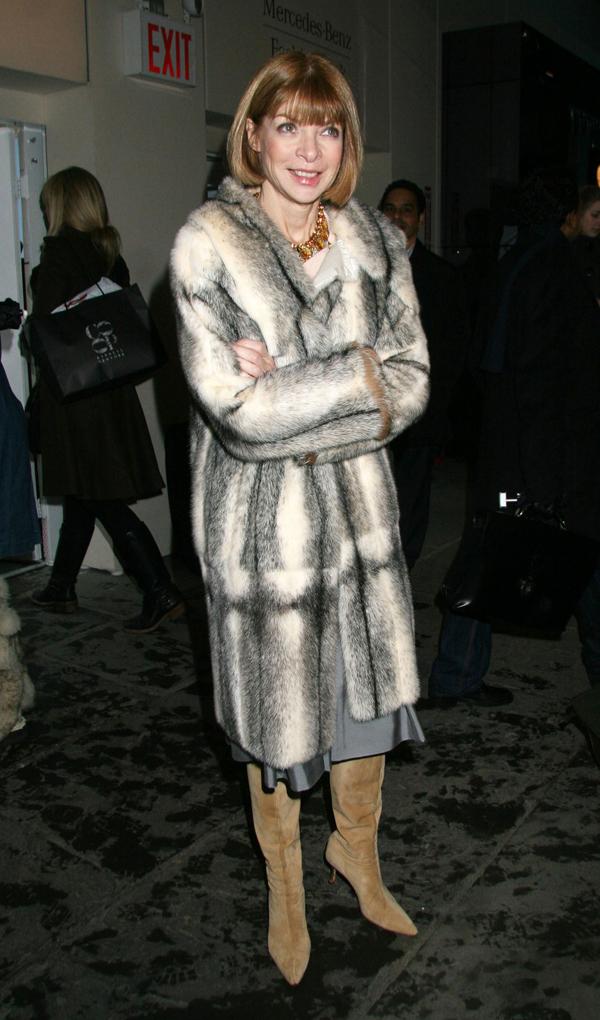 anna wintour fur coat brown ha Anna Wintour vs. Emmanuelle Alt