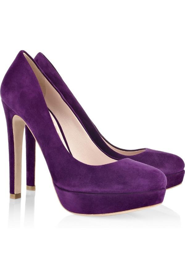 Miu Miu Purple Suede platform pumps Stil dana: Miranda Kerr