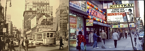 Slika 2.1940 i 1985 Trk na trg: Times Square, Njujork