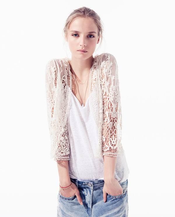 slika 224 Zara TRF: Iscepani džins, čipka i rese