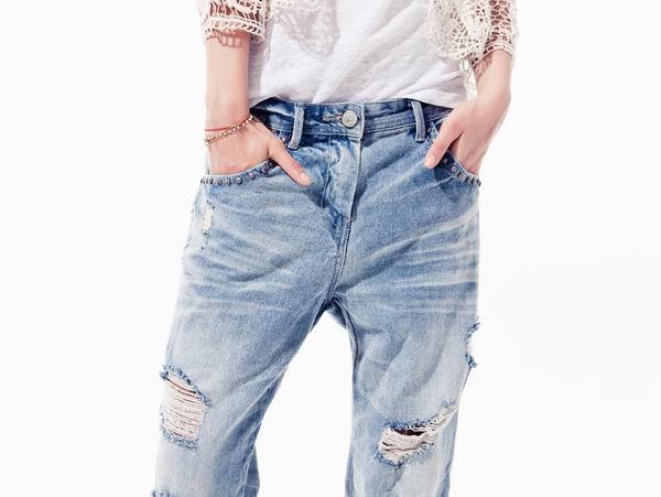 slika 316 Zara TRF: Iscepani džins, čipka i rese