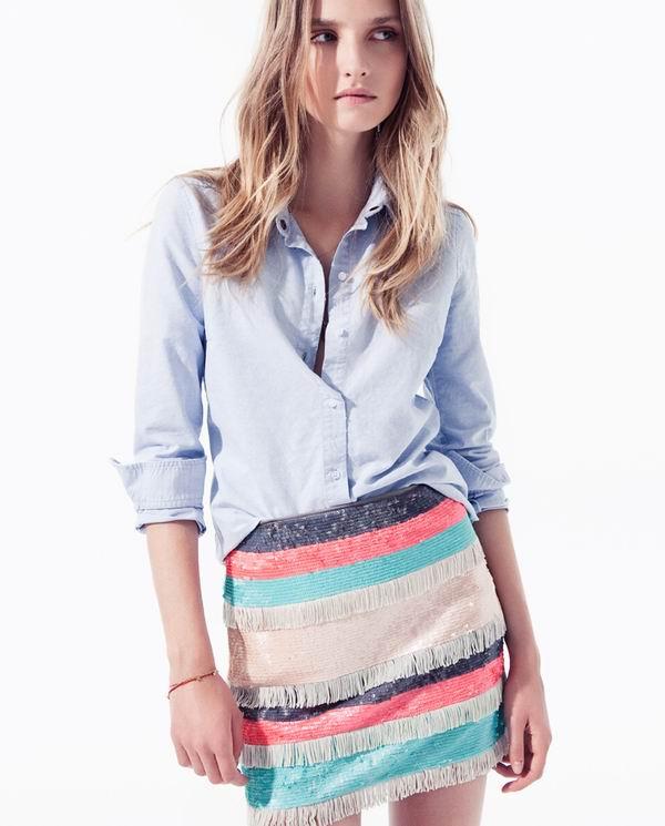slika 87 Zara TRF: Iscepani džins, čipka i rese