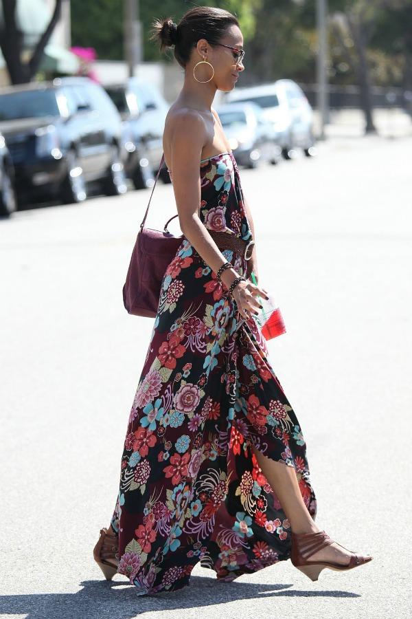 zoe saldana floral maxi dress2 Stil dana: Zoe Saldana
