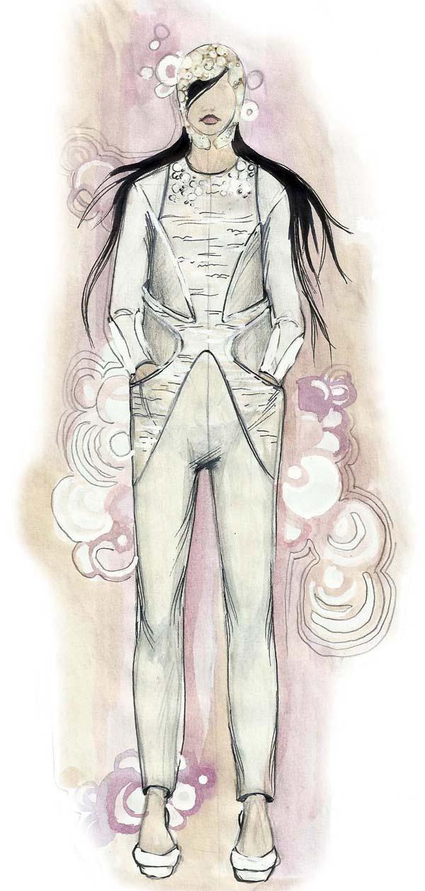 Model iz kolekcije jesen zima 2011 2012 Nevena Ivanović: Modna ilustracija kao strast