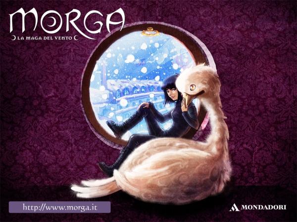 """Slika 4 Morga i njen beli piros Vapi Čitajte deci: """"Morga – La maga del vento"""""""